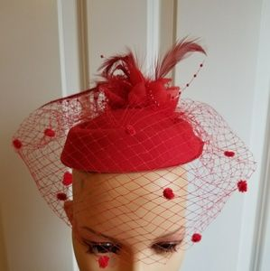 Red Pillbox Fascinator,  Red Hats,  Red Bridal Hat